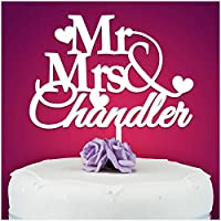 PERSONALISED Wedding/Anniversary Cake Topper Decoration - Personalise with ANY SURNAME - MR & MRS - Food Safe Acrylic Cake Decoration - Made from Strong 3mm Coloured Acrylic - 7 Different Colours