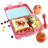 Aohea Bento-Lunchboxen mit 4 Fächern, bento box mit Spork, mikrowellengeeignet, auslaufsicher, für Erwachsene, Jugendliche, Mädchen, Jungen, rose