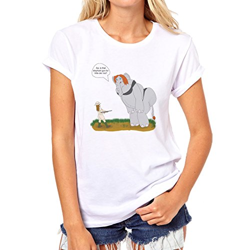 Elephant Aww Is That Elephant Gun For Little Damen T-Shirt Weiß