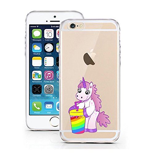 iPhone 5S 5 SE ,TPU Einhorn Becher Hülle Sketch Unicorn Einhörner Case transparent klare Schutzhülle Disney Hülle iphone6 Tasche Cover (iPhone 5 5S SE, Einhorn Becher)