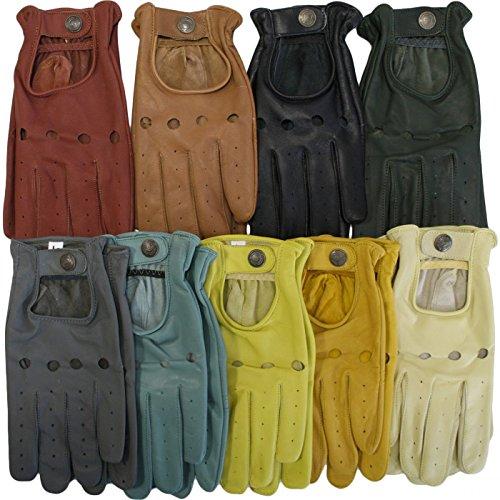 Herren Driving Autofahrer-Handschuhe Lederhandschuhe Schwarz, Grün, Braun, Gelb, Grau, Orange 9x Fraben, Size:9=L;Farben:Gelb