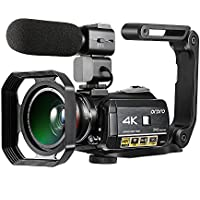 Camcorder 4K ORDRO 3.1 Inches IPS Touch Screen Wifi Digital Video Camera 30X Digital Zoom Night Vision Camcorder with Microphone Wide Angle Lens Lens Hood and Hand-held Holder