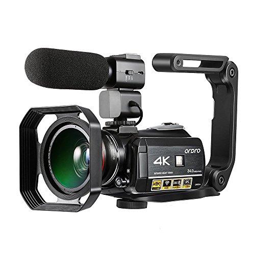4K Camcorder ORDRO 4K Ultra HD 3.1 Zoll IPS Touchscreen Wifi Digitale Videokamera 30X Digital Zoom...