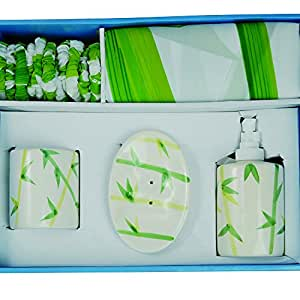 MSV 140144 Set de WC 1 Rideau + Porte-Savon + Gobelet + Distributeur de Savon Polyester + Polypropylène Bambou 0,1 x 0,1 cm