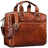 STILORD 'Jack' Ledertasche Aktentasche Herren Vintage Umhängetasche für Büro Business Arbeit 13,3 Zoll Laptoptasche für große DIN A4 Aktenordner echtes Leder, Farbe:Cognac - glänzend