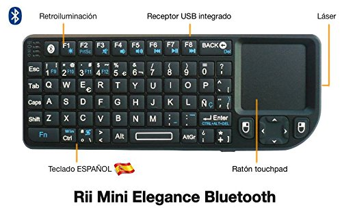 Rii Mini Elegance Bluetooth (layout Español) - Mini teclado retroiluminado con ratón touchpad y puntero láser para Tablets, Smartphones, Mini PC Android, PlayStation, HTPC, PC, Raspberry Pi, Smart TV