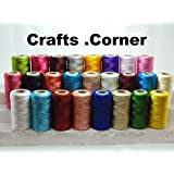 25 bobinas de hilo de bordar de seda grande brillante, 25 colores diferentes