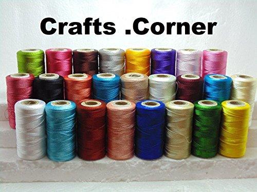 25 bobinas hilo bordar seda grande brillante, 25 colores