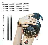 2 PCS Werkzeug Verziert Gravierter Stift Haar-Trimmer-Stift-Haar-Tätowierungs-Ordnung, Die Gesichts-Augenbraue-Formungs-Gerät+ 20 Klingen-Pinzette-Haar-Styling-Augenbraue-Bart-Rasiermesser-Werkzeug Verziert