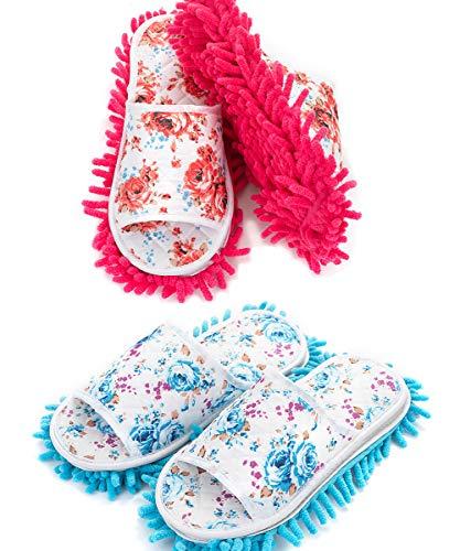2 Paare Staubmopp Wischmop Bodenreiniger Hausschuhe Schuhreinigung Putz-Hausschuhe mit reinigender Mikrofaser-Sohle Komfortable waschbar,QILICZ Polieren Staubwischen reinigen