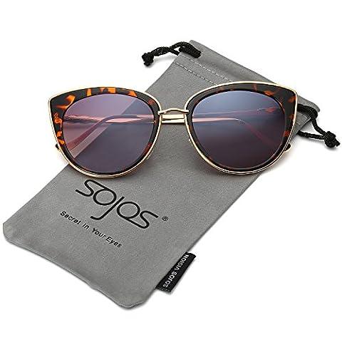 SojoS Womens Fashion Metal Frame Flash Mirror Revo Lens Cat Eye Sunglasses SJ1002 With Gold Frame/Demi Brown Lens