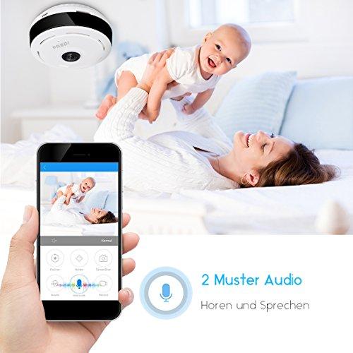 FREDI IP Sicherheit Kamera 960P Panorama Kamera 180°Wlan Videoüberwachung Dome Überwachungskamera IP Cam mit IR Nachtsicht /2 Weg Audio/Bewegungsmelder für Haus /Baby Überwachung - 4