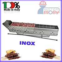Mistermoby Stainless Steel Barbecue for Grilling Skewers Meat on a Stick Kebab Meat Bread Fish Lenght 110 Cm The Original by Mister Moby