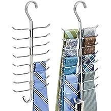 mDesign Juejo de 2 Corbateros con 17 ganchos para colgar corbatas, pañuelos, chales –