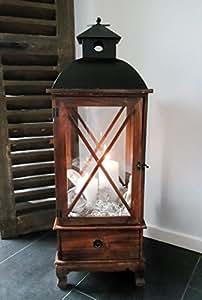 xxl holz laterne mit schublade windlicht metalldach braun 80 cm landhaus shabby. Black Bedroom Furniture Sets. Home Design Ideas