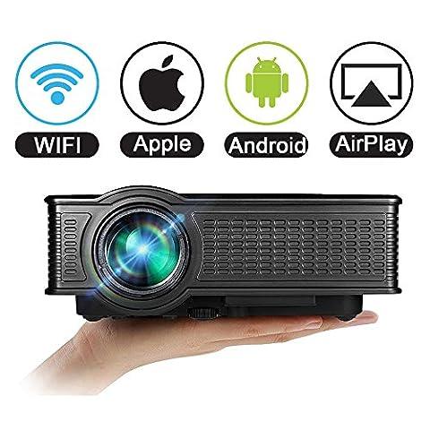 Home Beamer WiFi 1080P für iPhone Android, VPRAWLS 1500 Lumen LED Full HD Wireless Portable Mini Movie Projektor Multimedia Projektor HDMI VGA SD USB AV mit eingebautem Lautsprecher für Heimkino Kino