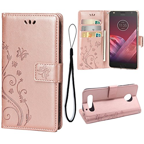 Teebo Hülle für Motorola Moto Z2 Force Schutzhülle aus PU Leder Handyhülle mit geprägtem Schmetterling-Muster Kartenfach und Magnetverschluss Rose Gold