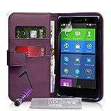 Yousave Accessories Coque Nokia XL Etui Violet PU Cuir Portefeuille Housse Avec Mini Stylet