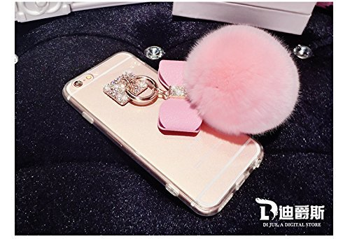 iPhone 5C Hülle, Vandot Transparent Diamant Pom Pom Glänzend Schutzhülle für iPhone 5C Handyhülle Handmade Clystal Klar Kristall Strass Bling Shining Luxus Zurück Case Cover Ball Plüsch-Kugel Fluffy P Pink Rosa