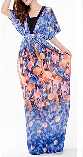 Ghope Femme Robe Long Maxi Manche Court Fleur Floral Bohème Col V Grand Taille Plage Bleu