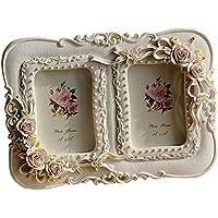 Giftgarden® Cornici Bianche Doppia Fiori Decorativi 6 x 9 cm