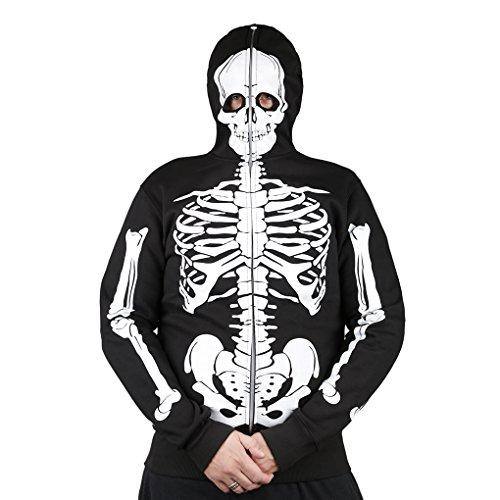 MB-Müller Halloween Fasching Karneval lSkelett-Masken-Jacke-Sturmhaube l Totenkopf Skeletton Geister Kopfbedeckung Overall l 65% Baumwolle/35%Polyester XS-3XL (XXXL)