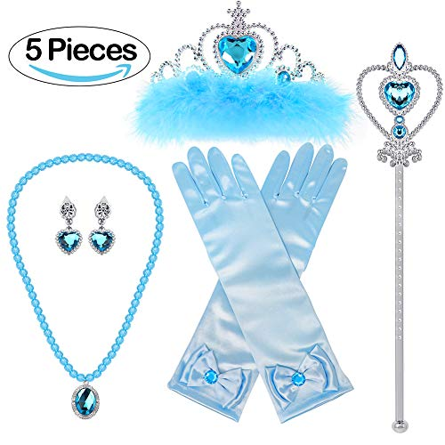 VAMEI Prinzessin Dress up Party Zubehör mit Krone Wand Handschuhe Halskette Ohrringe Ring Tiara Zopf Zauberstab Maske Set (ELSA ()