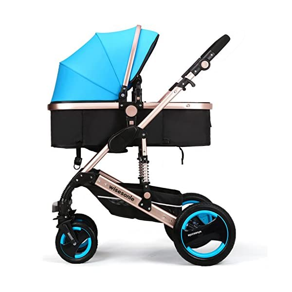 wiseson four tires do not need to inflatable strollers 2016 Stroller Travel System stroller size 85 * 41 * 114 cm leadership khaki dark blue pink purple blue  Very stable tires Light alluminium chassis More space 1