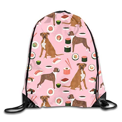 Drawstring Backpack Bags Boxer Dog Sushi Themed Dogs Sport Athletic Gym Sackpack for Men Women -