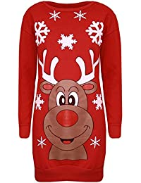 Be Jealous Ladies Oversized Jumper Snowman Snowflakes Scarves Red Cap Knitted Scoop Neck Long Sleeves Baggy Fleece Sweatshirt Womens Plus Sizes 8-22