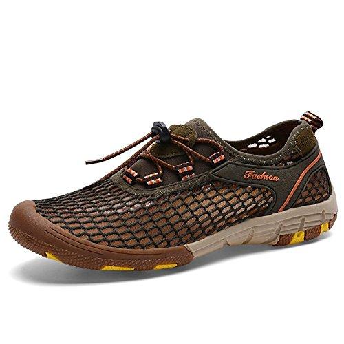 Männer Mesh Sandalen Leicht Breathable Bequem Outdoor Casual Wasser Schuhe Für Camping Klettern Wandern , grey , 44 - Leder Mesh Maultiere