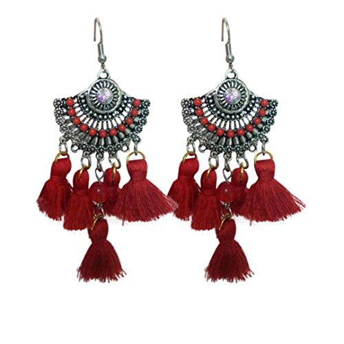 Boho Dangle Ohrringe LCLrute Modeschmuck Vintage Style Strass Kristall Quaste baumeln Ohrstecker (Rot) (Frauen Bäume Für Ohrring)