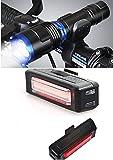 LED Fahrradlampenset Blau mit USB aufladbares Rücklicht mit 100 Lumen Direktversand aus DE von SBTrading24®