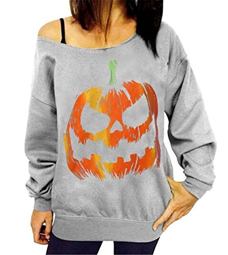 BESTHOO Frauen Halloween Kürbis Print Long Sleeve Sweatshirt Pullover Tops Lose Bluse Modisch Shirt