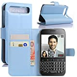 HualuBro BlackBerry Classic Hülle, Premium PU Leder Leather Wallet HandyHülle Tasche Schutzhülle Flip Case Cover für BlackBerry Classic Q20 Smartphone (Blau)