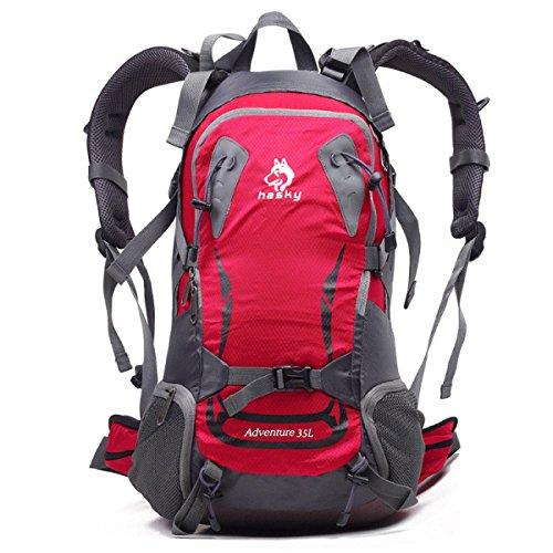 Outdoor Trekking Rucksack Klettern Fischen Tasche Wasserdicht 35L Red