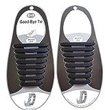elastische Schnürsenkel aus Silikon (schwarz / flach) - fester Halt für Ihre Schuhe - Erwachsene und Jugendliche (Damen / Herren) - reißfeste Schnürbänder für Sneaker