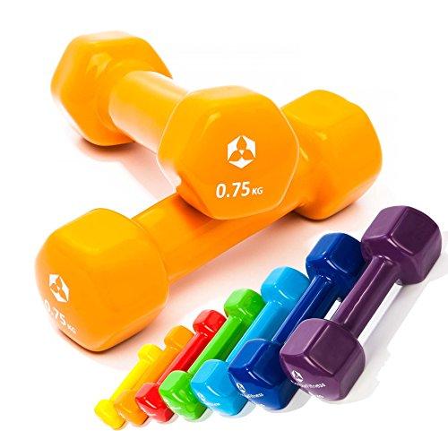 2er-Set Hanteln 0,5kg, 0,75kg, 1kg, 1,5kg, 2kg, 3kg & 4kg / rutschfeste & griffige Vinyloberfläche »Hexagon« Kurzhanteln (Aerobic-Gewichte) in verschiedenen Gewichts- und Farbvarianten. Das Hantelset besteht aus 100% Eisen - Die Gewichte bzw. das Kurzhantel-Set eignen sich für Gymnastik, Fitnesstraining, Physiosport & Heimtraiing. Das Hantelpaar ist schön griffig, einfach zu reinigen & resistenz gegen Schweiß & Feuchtigkeit / 0.75kg, orange