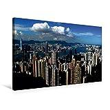 Calvendo Premium Textil-Leinwand 75 cm x 50 cm Quer, Blick vom Victoria Peak über die Stadt | Wandbild, Bild auf Keilrahmen, Fertigbild auf Echter Leinwand. Impressionen aus Hongkong Orte Orte