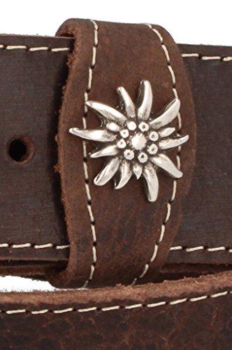 Trachtenkönig Trachtengürtel Original Herren zur Lederhose mit Edelweiss (85 cm, Dunkelbraun (Vollrindleder))_TK01_01_85 - 4