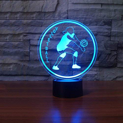Ilusión óptica 3D Voleibol Femenino Luz de Noche 7 Colores que Cambian USB Poder Touch Switch Decor Lámpara LED Mesa Lámpara Niños Juguetes Cumpleaños Navidad Regalo
