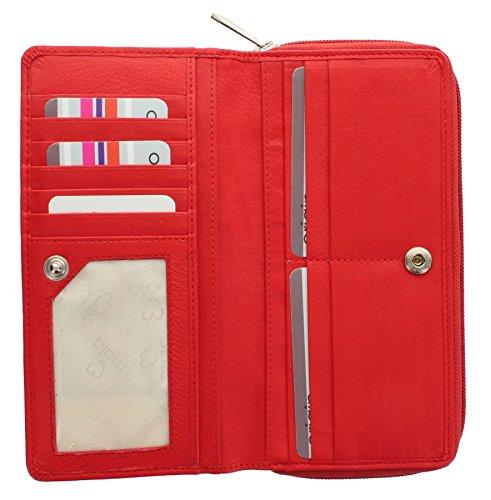Mala Leather Collezione ORIGIN Portafoglio in pelle con protezzione RFID 3258_5 Verde Rosso