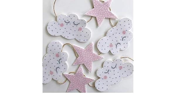 1 m di Lunghezza Festone Decorativo per cameretta The Material Girls Sleepy Cloud And Pink Star