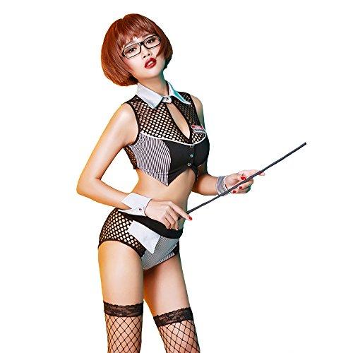 Dessous Sexy Babydoll Drizzle Neckholder Tiefer V Cosplay Lehrer Kostüm Einheitliche versuchung Kostüm (Große Schwierigkeiten Kostüme)
