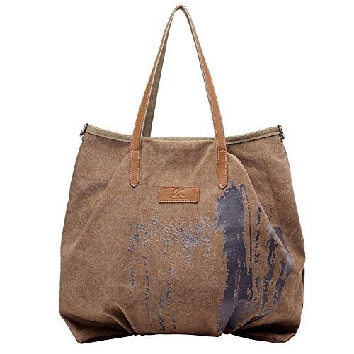 PB-SOAR Damen XXL Vintage Canvas Shopper Schultertasche Umhängetasche Handtasche Beuteltasche Einkaufstasche, 5 Farben auswählbar (Blau) Braun