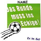 alles-meine.de GmbH 2 tlg. Set _ Große _ Fensterbilder -  Fußball / Das Runde Muss ins Eckige ! ..