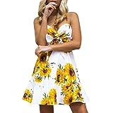 MOIKA Damen Kleid, New Frauen Sonnenblume Print Halfter Halfterkleid Off Schulter Sleeveless Minikleid Prinzessin Kleid(L,Gelb)