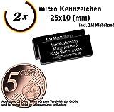 Gravierwerkstatt-Salomon 2X Micro Drohnen Kennzeichen Aluminium elox. 25x10mm mit Hochwertiger Lasergravur inkl. Klebestreifen (25x10)