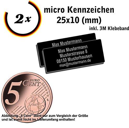 Gravierwerkstatt-Salomon 2X Micro Drohnen Kennzeichen Aluminium elox. 25x10mm mit Hochwertiger...