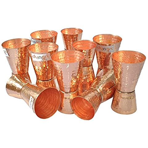 Dungri India Craft ® (Set of 10) Pure Pepper Hammered Jigger Shots Peg Measurer - 30ml (1 Oz) et 60ml (2 Oz) - Spirit Measuring Cup, lunettes à double face, Double Port Wine Bar Party Cocktail Drinks